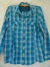 Eddie Bauer Blouse Outdoor Misses XL Nylon Blue Teal White Plaid MINT