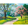 Road with Flower Tree Paint by Numbers Kit Canvas Frame Unframed DIY Gift 40x50