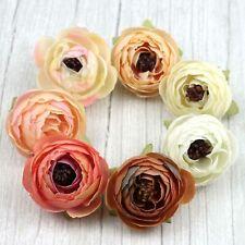 "30P Bulk Artificial Silk Flower Heads 2"" Rose/Camellia/Peony White&Cream&Brown"