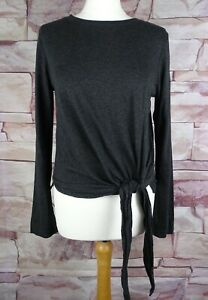 WHISTLES grey stretch tie front top size 12