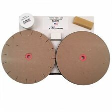 "8"" Paper Wheels Knife Sharpening System for 6"" Grinders - 2 Wheels, Wax, & Rouge"