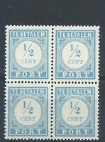 Netherlands 1912 Sc# J44 Postage due block 4 MNH