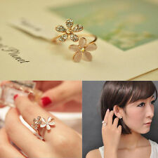 Fashion Women Fresh Crystal Gold Plated Opal Flower Ring Charm Jewelry Gift