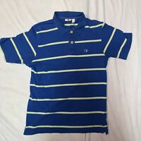 Vintage OP Blue Green Striped Polo Shirt Size Medium 70s/80s Ocean Pacific Surf