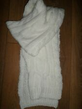 "NEXT WHITE ACRYLIC CABLE KNIT SCARF SIZE 74"" x 9"" NEW"