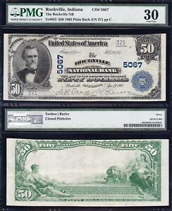 Awesome RARE Choice Crisp VF++ 1902 $50 ROCKVILLE, IN National Banknote! PMG 30!