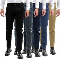 Pantalone Uomo Invernale Chino Slim Fit Pantaloni Tasca America Elegante Classic