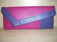 FUCHSIA PINK & PURPLE  Faux leather clutch bag. LOVINGLY Handmade in the UK.