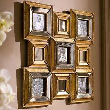 Edler Multi Bilderrahmen Goldglanz mit Spiegeln für 5 Bilder / Retro Design Gold