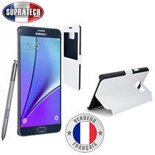 Etui Rabattable Blanc Avec Ouverture Ecran pour Samsung Galaxy Note 5 N920