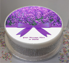 """Novelty Personalised Lavender with bow 7.5"""" Edible Icing Cake Topper flowers"""