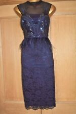 COAST NAVY BLUE FEATHER EMBELLISHED EVENING SPECIAL OCCASION PARTY DRESS SIZE 16