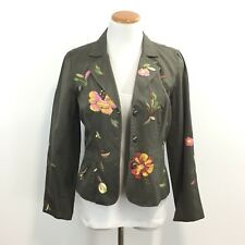 Tribal Embroidered Jacket Sz 4 100% Cotton Machine Wash Great Look Womens Sz 4