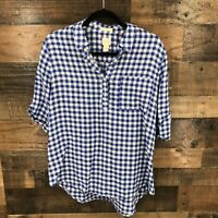 Chicos Women's Blue And White Gingham Rolled Cuffed Elbow Sleeve 100% Linen Top