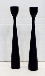 Vintage 1960 DANISH MODERN Teak Wood MID-CENTURY Black Candle Holders / EAMES