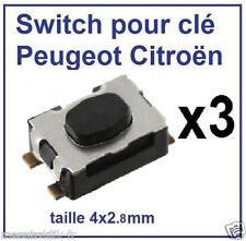 3 switch bouton de clé pliante télécommande plip Peugeot 207 407 308 807 1007
