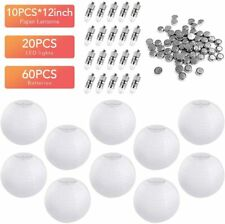 10 Packs 12 Inch White Round Paper Lanterns 20 Packs White LED Party Lights