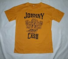 JOHNNY CASH Cowboy Boots Yellow Medium T Shirt Spurs Country Walk The Line Blues