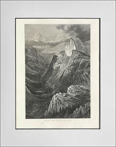 "YOSEMITE ""Tenaya Canyon, from Glacier Point"" c1872 Antique engraving"