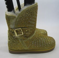 NEW LADIES Urban Glitter Gold Rhinestones Winter Ankle Sexy Boot Size 6