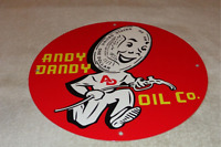 "VINTAGE ANDY DANDY OIL COMPANY DOLLAR GUY 11 3/4"" PORCELAIN METAL GASOLINE SIGN!"
