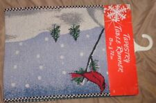 NWT Arlee Home Holiday Tapestry Table Runner Cardinal Snowman Joy Multicolor