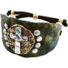 Western Cowgirl Vintage Cross Hammered Cuff Bracelet Bangle