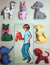* Vintage Original 7744 Hobby Horse & Stuffed Animals Sewing Pattern 1976 UNCUT