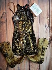 Gorgeous COWGIRL SEQUIN DRESS TUNIC MINI BODYCON GOLD BLACK GYPSY LARGE