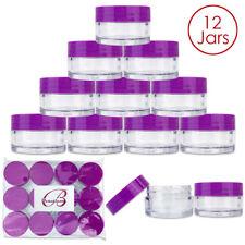 Beauticom® (12 PCS) 20G/20ML Round Clear Plastic Refill Jars with Purple Lids