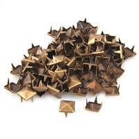 9X(100x 10mm Metall DIY Pyramiden Nieten Ziernieten Gothic Bronze L7H4) y3