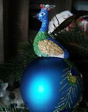 Glas Pfau Peacock 8cm Rund Kugel Glaskugel Türkis Baumschmuck Christbaumkugel