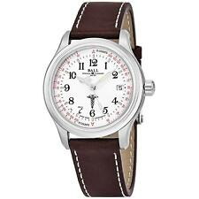 BALL MEN'S TRAINMASTER 38MM BROWN LEATHER BAND AUTOMATIC WATCH NM1038D-L2CJ-WH