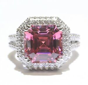 925 Sterling Silver Made with Swarovski Pink Zirconia Halo Ring 9.2g size 7