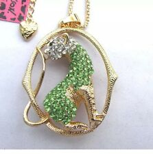 Betsey Johnson Necklace Gold Green Leopard Crystal