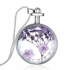 Purple Round Glass Locket Charm Pendant Dried Flower Necklace Long Sweater Chain