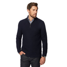Jasper Conran Navy Chunky Knit Zip Funnel Neck Sweater 4XL TD081 YY 05