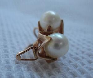 Russian Soviet Rose Gold Pearl earrings vintage 583 stamp Серьги с Жемчугом