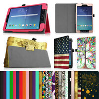 """Folio Vegan Leather Case Stand Cover For 8"""" Samsung Galaxy Tab E 8.0 SM-T377"""