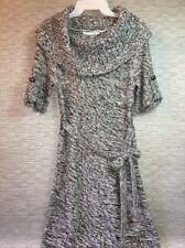 Maurice's Black White Gray Sweater Mini Dress Women's Medium Short Sleeve