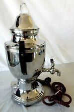 Vtg Cloth Wrapped Cord Stainless Steel Double Handle PERCULATOR Coffee Pot Works