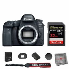 Canon 6D Mark II DSLR Camera Body with SanDisk 32GB Extreme PRO SDHC Memory Card