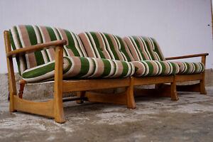 60er Vintage Sofa 3er Retro Couch Danish Eiche Wegner Ära Segeltuch & Leder 60s