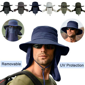 Unisex Outdoor UV Protection Sun Hat Wide Brim Fishing Cap with Removable Flap