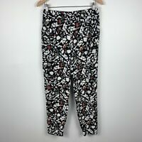 Zara Womens Pants Size Medium Floral Retro Design Elastic Waist With Pockets