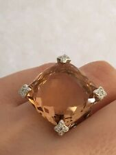 David Yurman Cushion-on-Point Diamonds Ring with Morganite, size 8