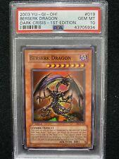 Yugioh Dark Crisis 1st Edition Berserk Dragon DCR-019 PSA 10 Gem Mint