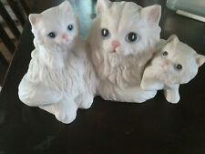 Vintage Home Interior#1412 White Cat With Kittens