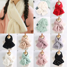 Women Scarf Winter Thicken Solid Faux Rabbit Fur Plush Cross Collar Scarf Shawls