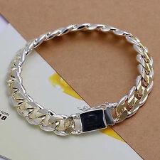 Wholesale 925 Sterling Silver SP10MM Square buttons side Men's bracelet